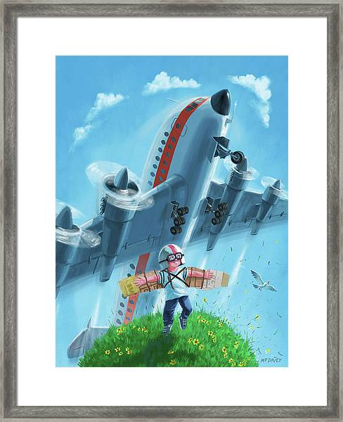 Boy With Airplane On Hilltop Framed Print