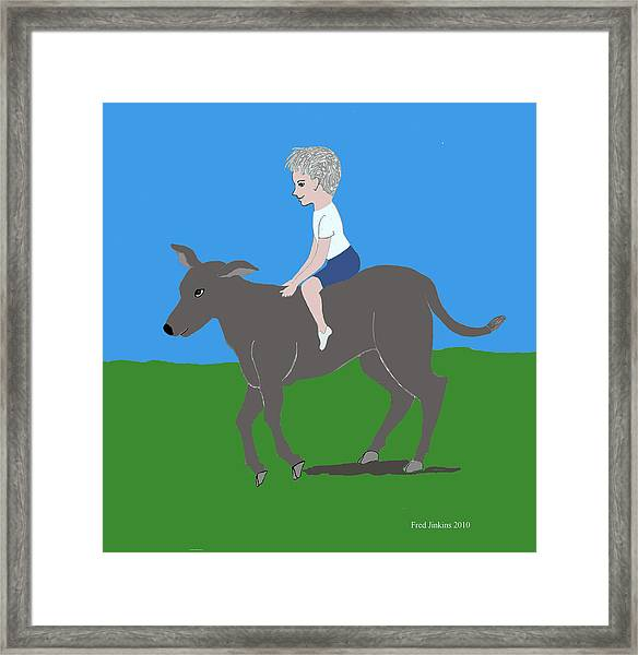 Boy With Calf Framed Print by Fred Jinkins