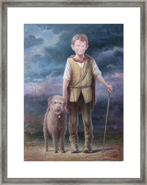 Boy With Dog Framed Print