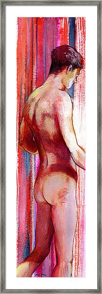 Boy With Vertical Lines Framed Print