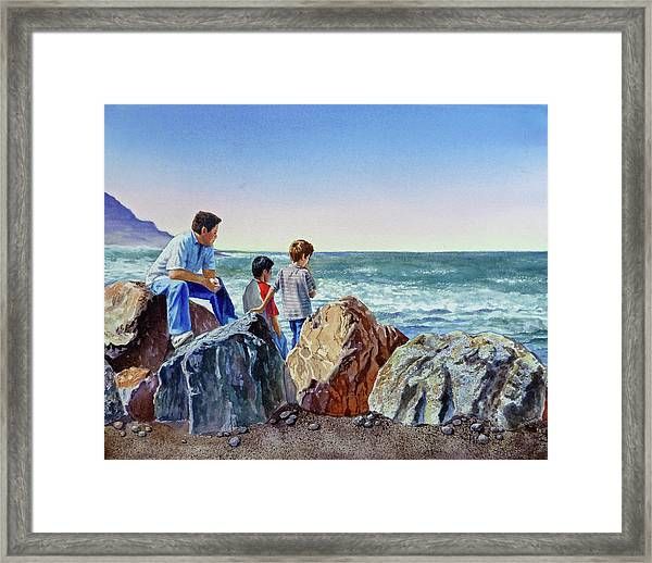 Boys And The Ocean Framed Print
