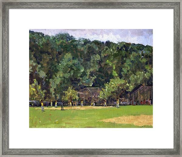 Boys Of Summer Baseball In Inwood Nyc 8x10 Original Plein Air Impressionist Fine Art Framed Print