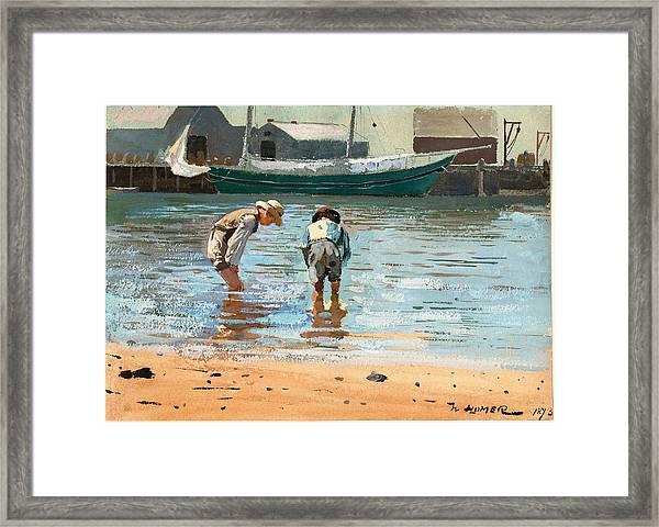 Boys Wading Framed Print