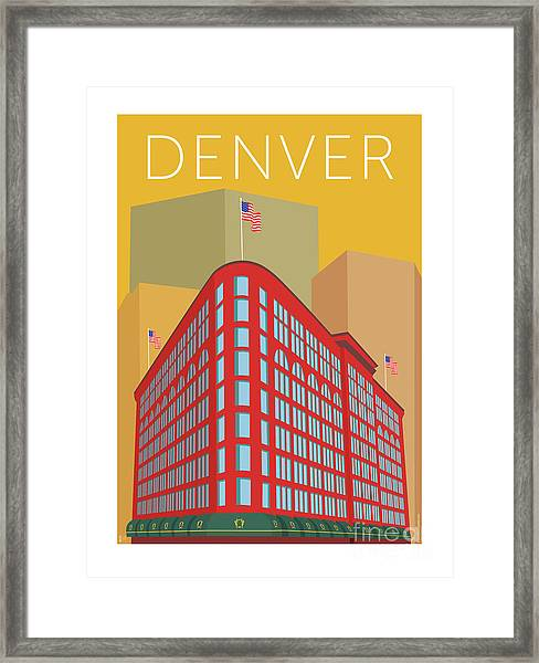 Framed Print featuring the digital art Denver Brown Palace/gold by Sam Brennan