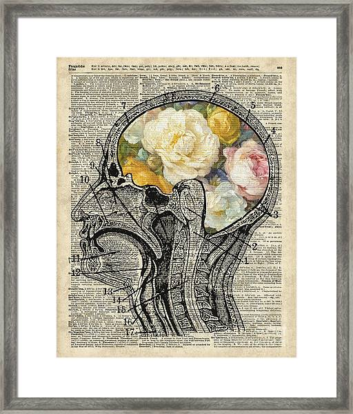 Brain Full Of Flowers Dictionary Art Framed Print