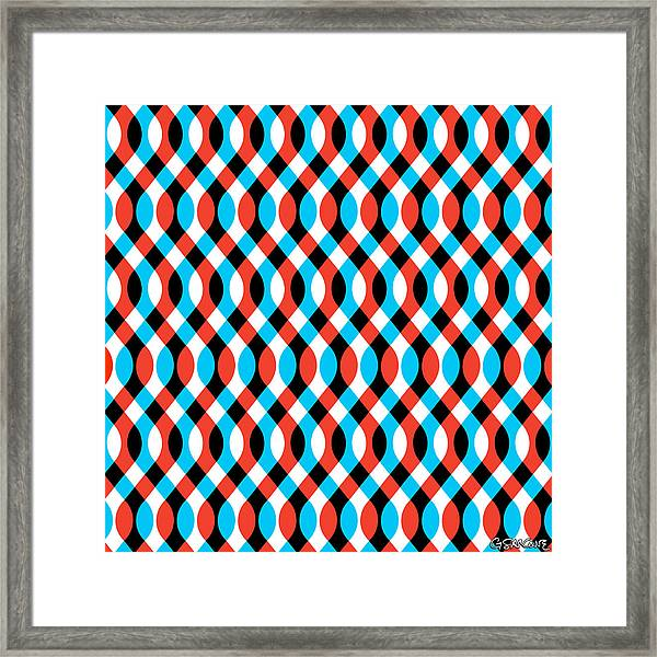 Brain Waves - Blue Framed Print