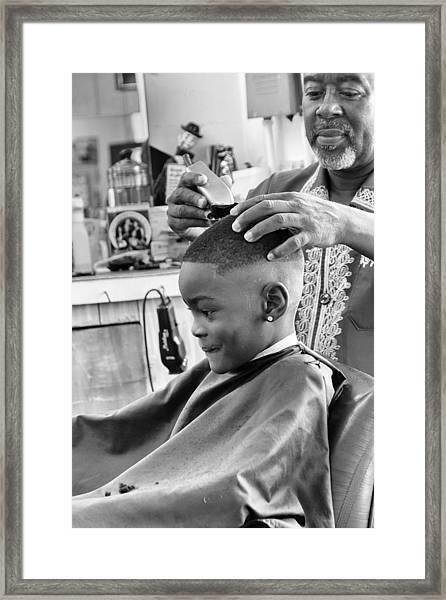 Brian's Haircut Framed Print