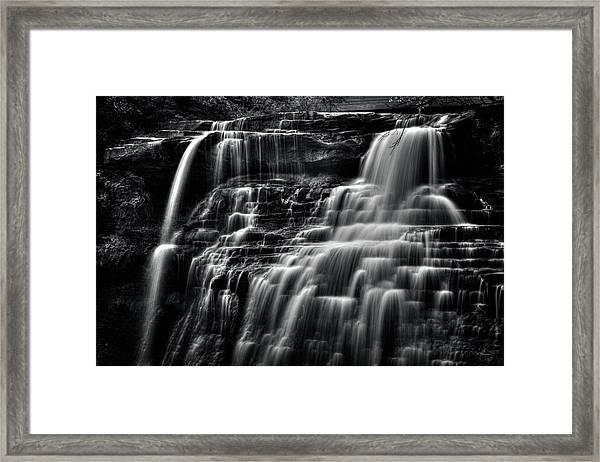 Brandywine Falls At Cuyahoga Valley National Park B W Framed Print