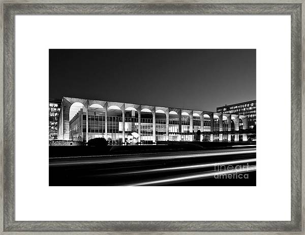 Brasilia - Itamaraty Palace - Black And White Framed Print