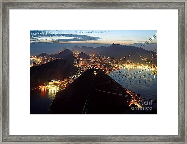 Framed Print featuring the photograph Brasil,rio De Janeiro,pao De Acucar,viewpoint,panoramic View,copacabana At Night by Juergen Held