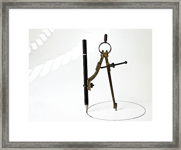Brass Compass And Pencil Framed Print