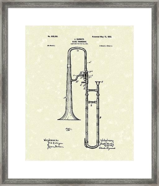 Brass Trombone Musical Instrument 1902 Patent Framed Print