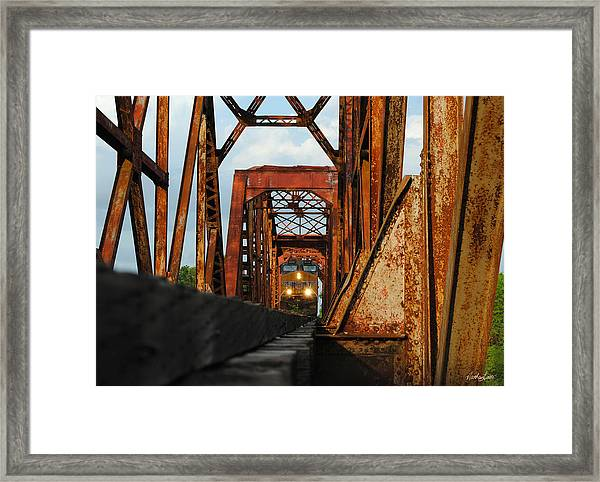 Brazos River Railroad Bridge Framed Print