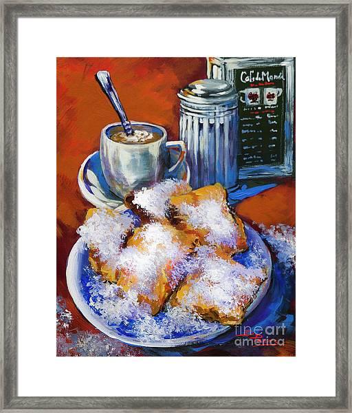 Breakfast At Cafe Du Monde Framed Print