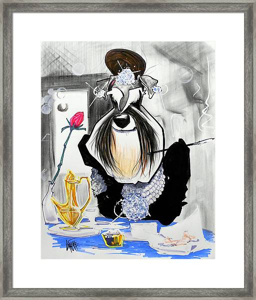 Breakfast At Tiffany's Schnauzer Caricature Framed Print