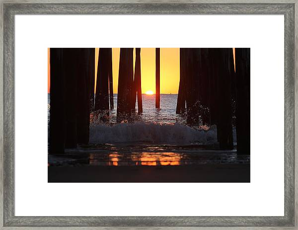 Breaking Dawn At The Pier Framed Print