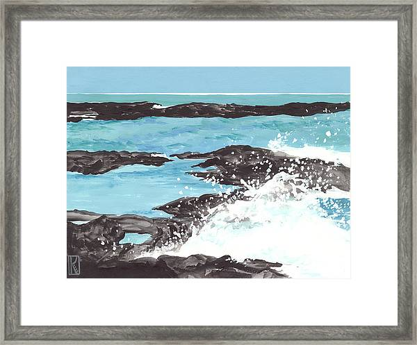 Breaking Wave On Lava Rock Framed Print