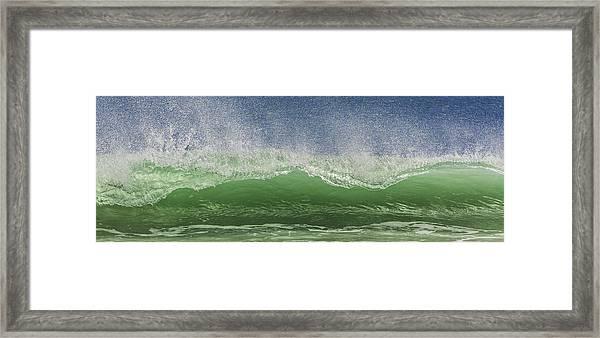 Aqua Wave Framed Print by Paula Porterfield-Izzo