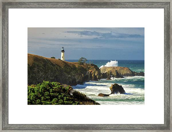 Breaking Waves At Yaquina Head Lighthouse Framed Print