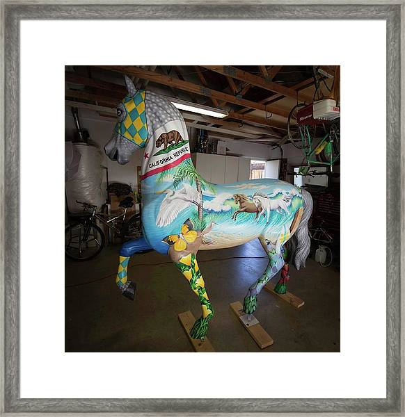 Breeders Cup Fiberglass Horse Left Framed Print