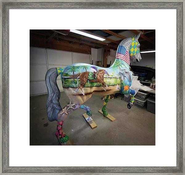 Breeders Cup Fiberglass Horse Right Back Framed Print