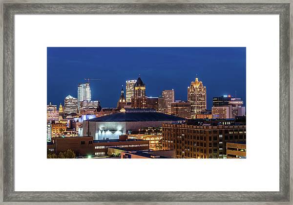 Brew City At Dusk Framed Print