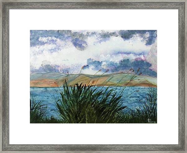 Framed Print featuring the painting Brewing Storm Over Lake Watercolor Painting by Dee Browning