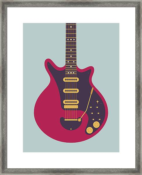 Red Special Guitar - Grey Framed Print