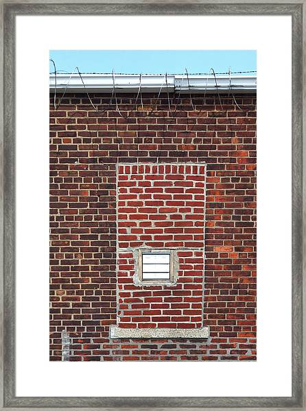Brick And Barbed Wire Framed Print