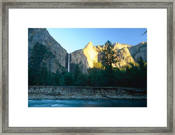 Bridal Vail Falls Sunset Framed Print by George Oze