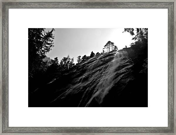Bridal Veil Falls In Black And White Framed Print