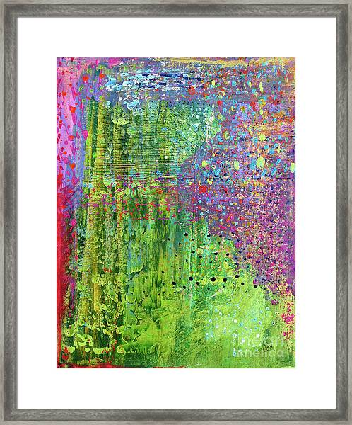Abstract Green And Pink Framed Print