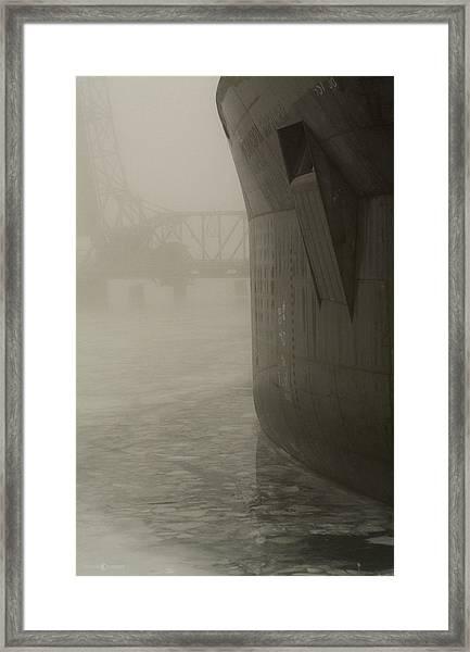 Bridge And Barge Framed Print