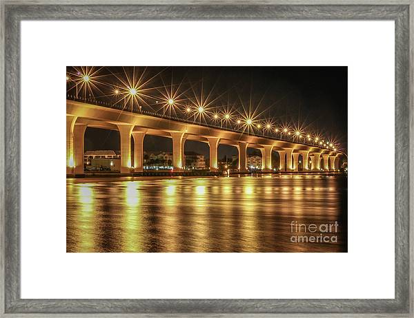 Framed Print featuring the photograph Bridge And Golden Water by Tom Claud