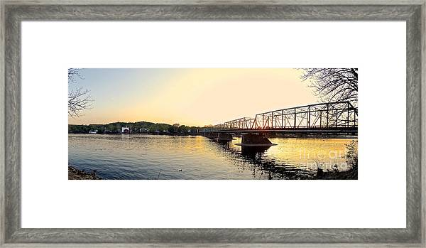 Bridge And New Hope At Sunset Framed Print