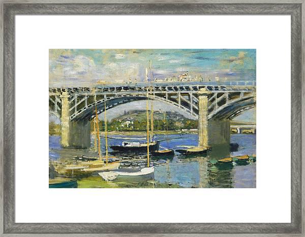 Bridge Over The River At Argenteuil Framed Print