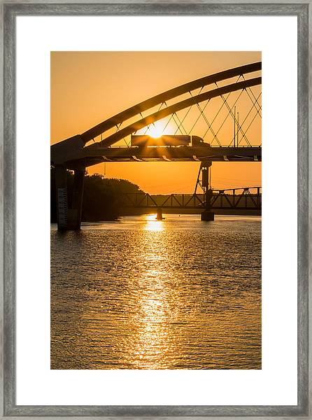 Framed Print featuring the photograph Bridge Sunrise #2 by Patti Deters