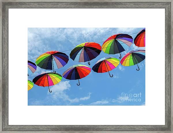 Bright Colorful Umbrellas  Framed Print