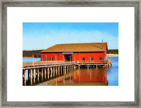 Bright Red Coupeville Wharf On Whidbey Island Framed Print