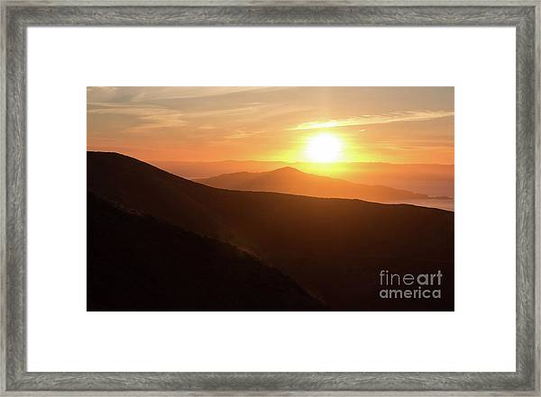 Bright Sun Rising Over The Mountains Framed Print