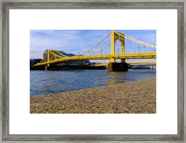 Bright Yellow Bridge In Downtown Pittsburgh Pennsylvania Framed Print