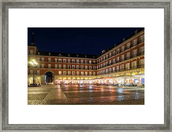 Brightly Lit Midnight - Plaza Mayor In Madrid Spain Framed Print
