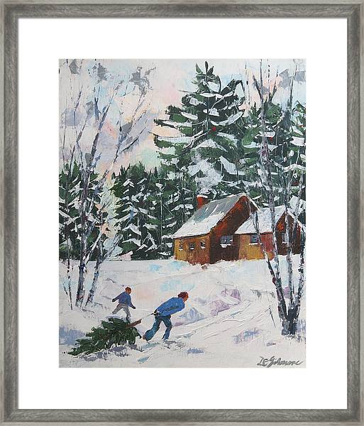 Bringing In The Tree Framed Print