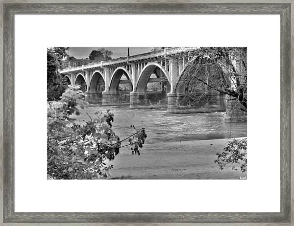Gervais Street Bridge Black And White Framed Print