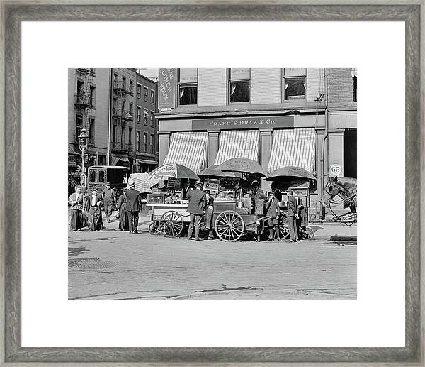 Broad St. Lunch Carts New York Framed Print