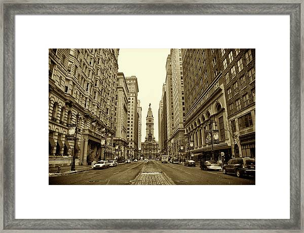 Broad Street Facing Philadelphia City Hall In Sepia Framed Print