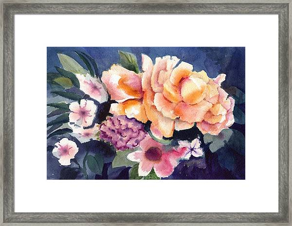 Brocade Flowers Framed Print