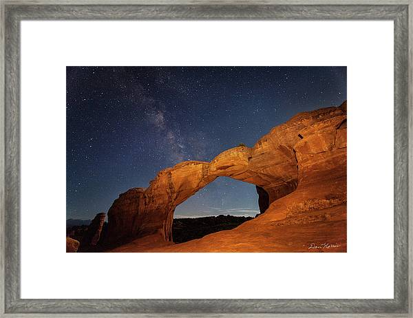 Broken Arch And Milky Way Framed Print