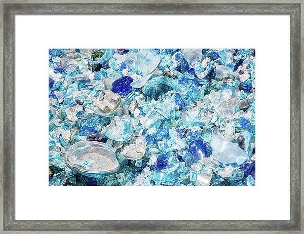 Broken Glass Blue Framed Print