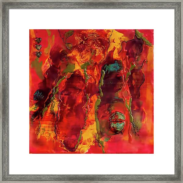 Broken Mask Encaustic Framed Print